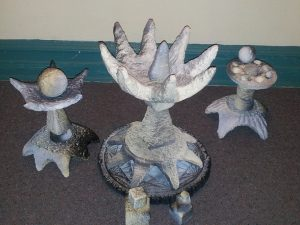 A few of Robert's sculptures made of wet paper pulp newspapers!