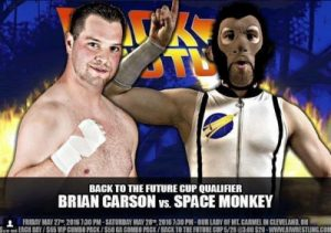 Brian Carson vs. Space Monkey took place at the Back to the Future Cup in May 2016
